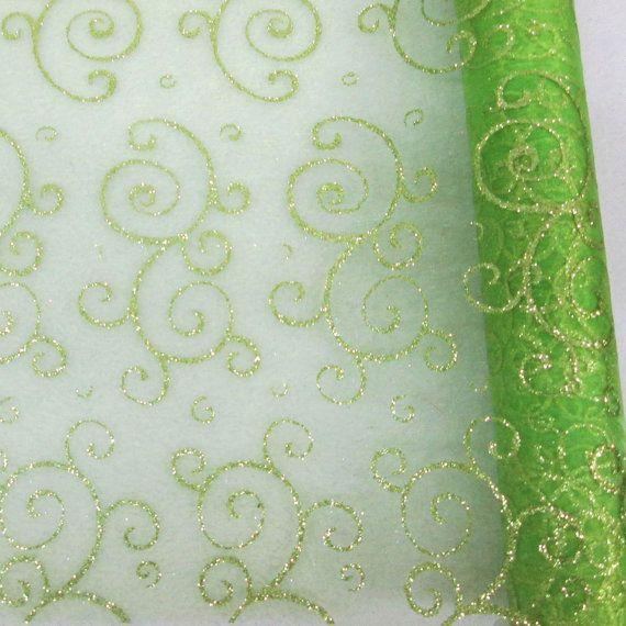 19 Inch Apple Green Organza Roll With Glitter Swirl