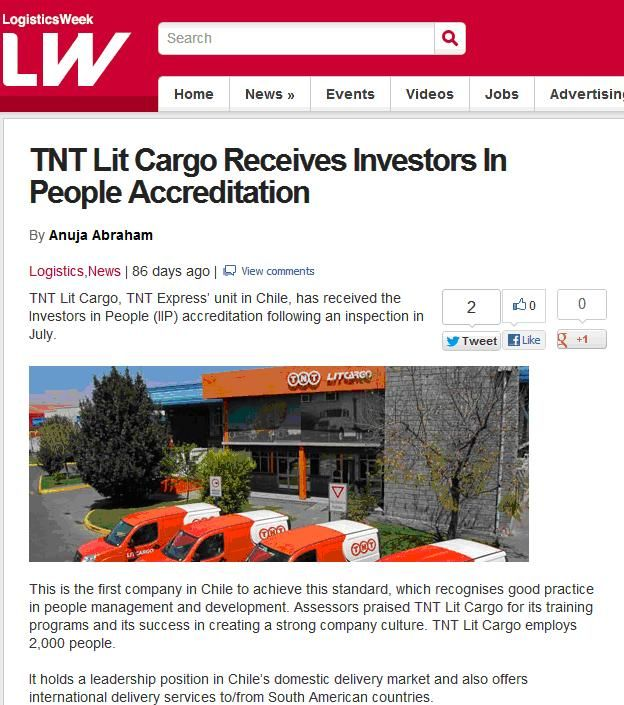 TNT Lit Cargo get the 1st Investor in People accreditation in Chile