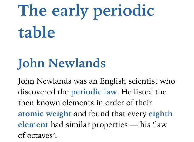 The Early Periodic Table John Newlands Ap Chemistry Pinterest