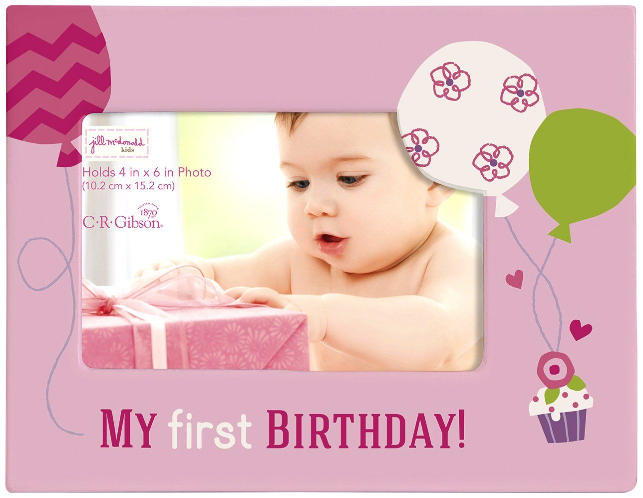C.R. Gibson Gibby and Libby First Birthday Photo Frame, Girl ...