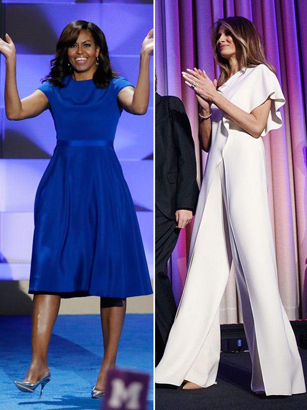 Αποτέλεσμα εικόνας για melania trump vs michelle obama clothes
