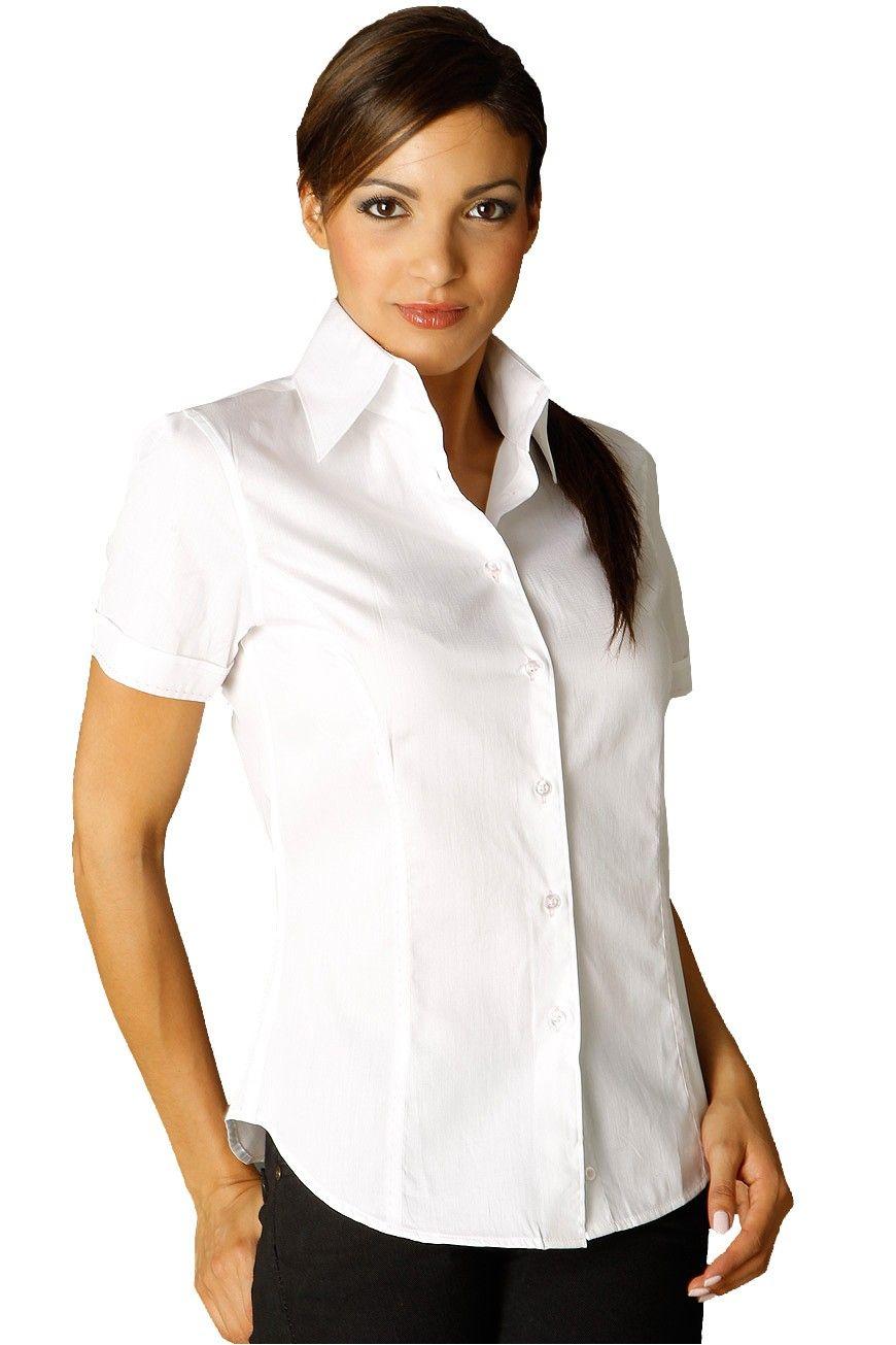 chemise femme manches courtes blanche au col italien et. Black Bedroom Furniture Sets. Home Design Ideas