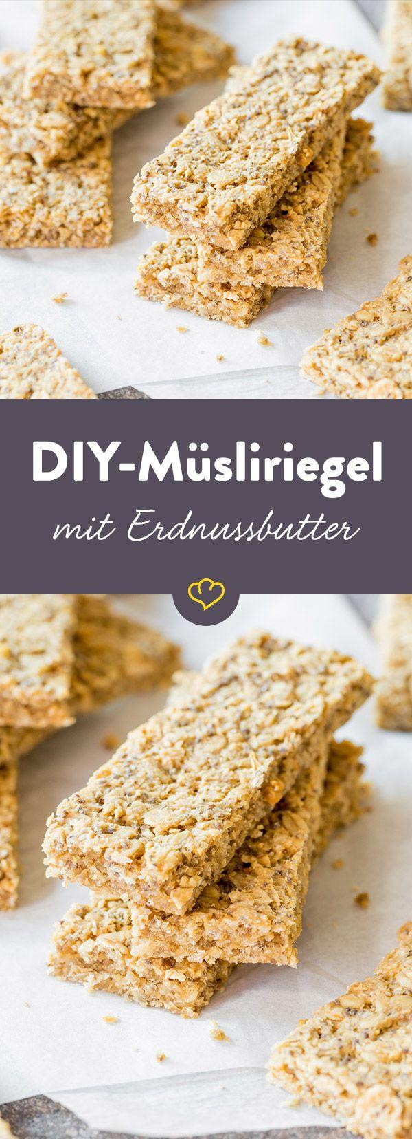 Neu Snack für zwischendurch: Chia-Erdnussbutter-Müsliriegel | Recipe  AI01
