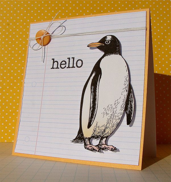 Cute penguin card by Flickr user Lucy Abrams