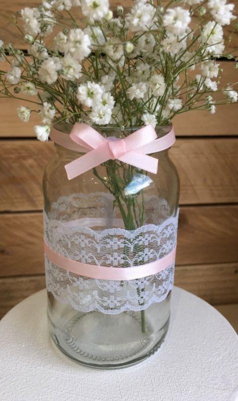 10 X Vintage Wedding Jars Glass Wedding Centerpiece Hessian Shabby Chic