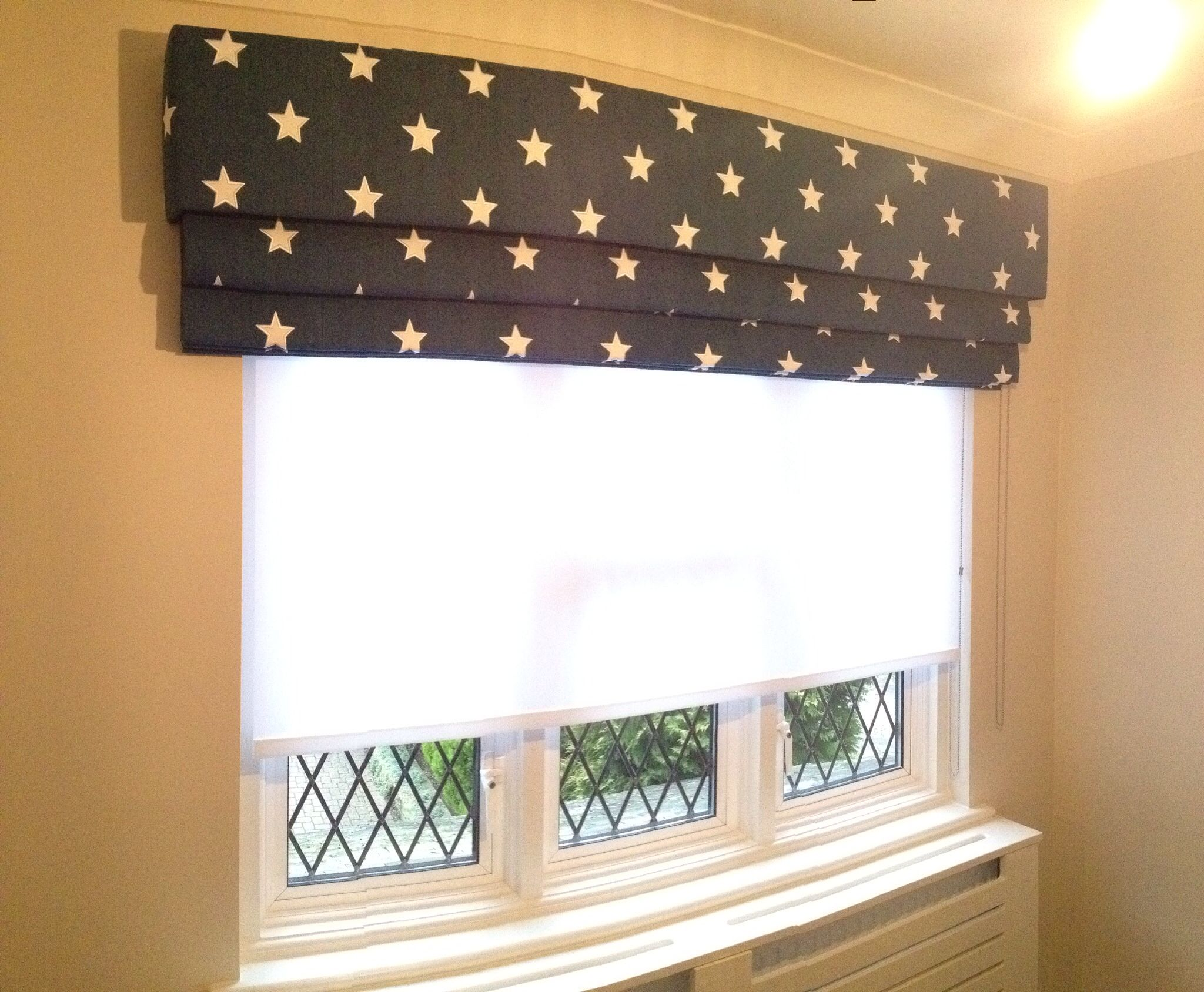 Kids Bedroom Blinds star fabric . roman blind . sheer roller blind . 020 8361 8339