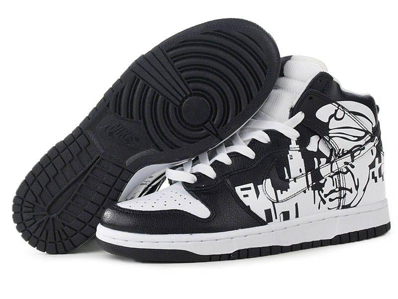 Custom Nike Dunks High Shoes Soldier Black White