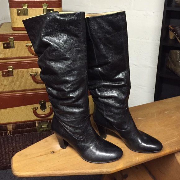 FINAL MARKDOWN Nine West Scrunchie leather boots Nine West scrunchy black leather boots Nine West Shoes Heeled Boots