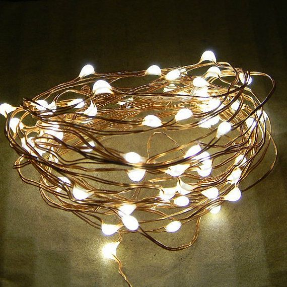 72 Dew Drop LEDs on 12-foot copper wire string light. Battery ...