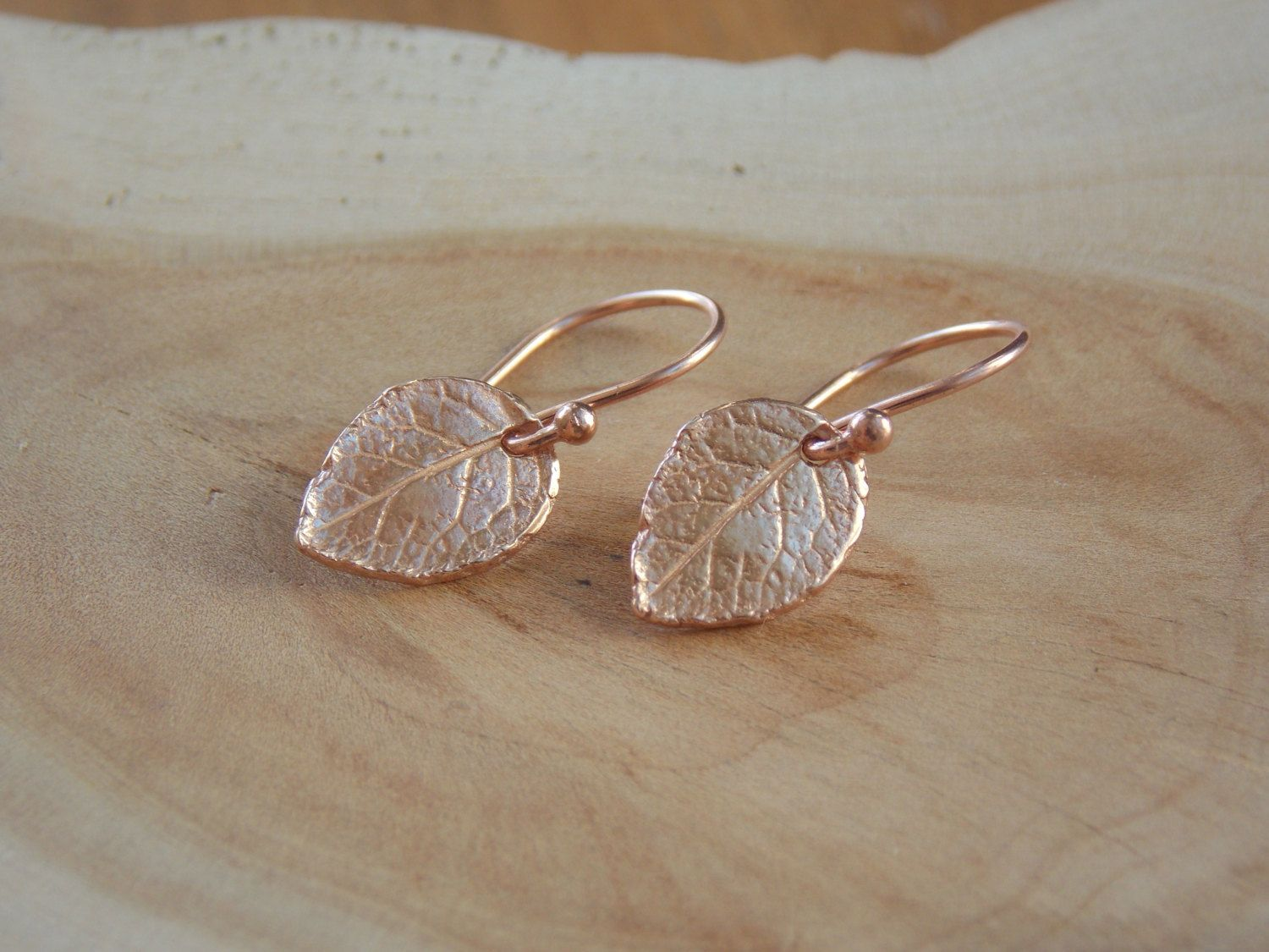 Rose Gold Leaf Earrings / Leaf Earrings / Small Rose Gold Earrings / Rustic Earrings / Rustic Earrings / Flower Petal Earring / Leaf Jewelry