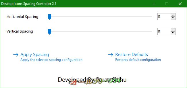 Desktop Icons Spacing Controller 2.1  Desktop Icons Spacing Controller--起動時の画面--オールフリーソフト