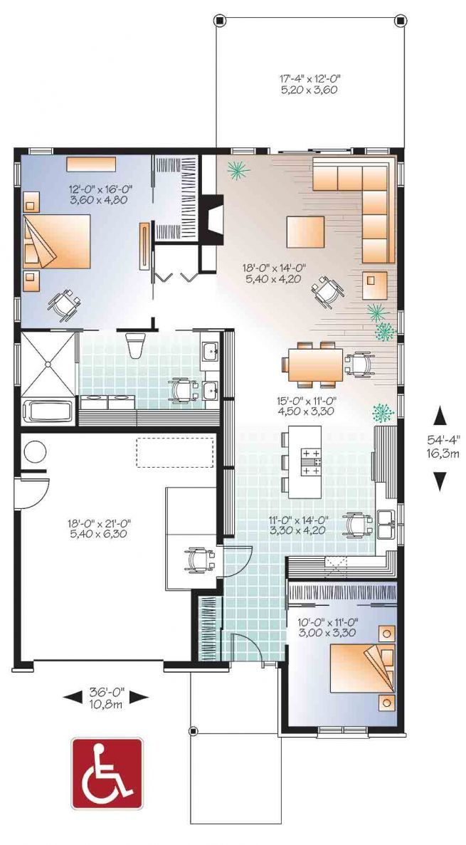 Discover The Plan 3275 Aurora Which Will Please You For Its 2 Bedrooms And For Its Contemporary Styles Free House Plans Wheelchair House Plans Accessible House Plans