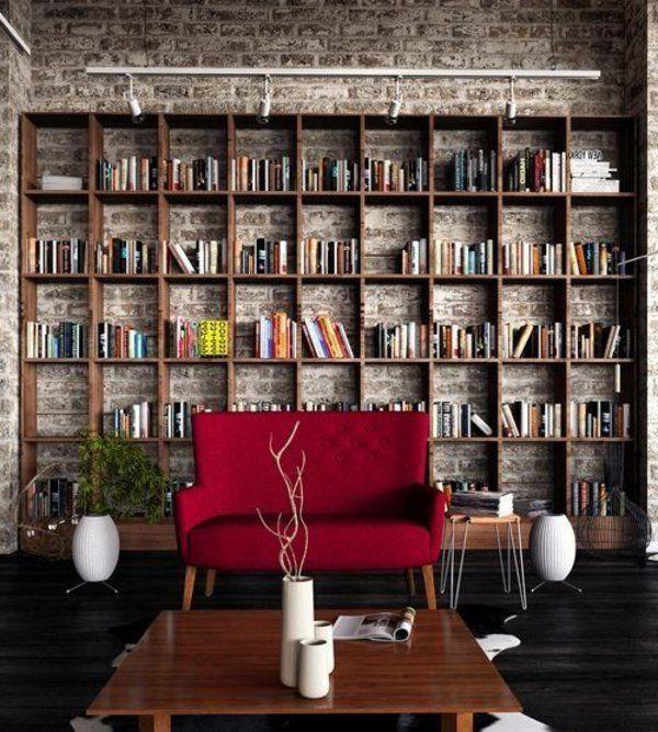30 Ideen für fabelhafte Bücherregale book shelves Pinterest - wohnzimmer gestalten rot