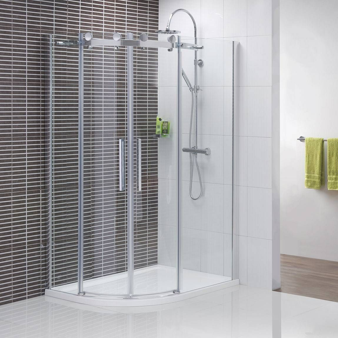 v8 frameless offset quadrant shower enclosure x 900 tray