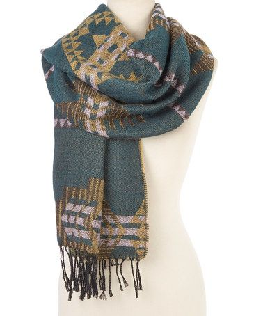 Another great find on #zulily! Green & Beige Geometric Fringe-Hem Scarf #zulilyfinds