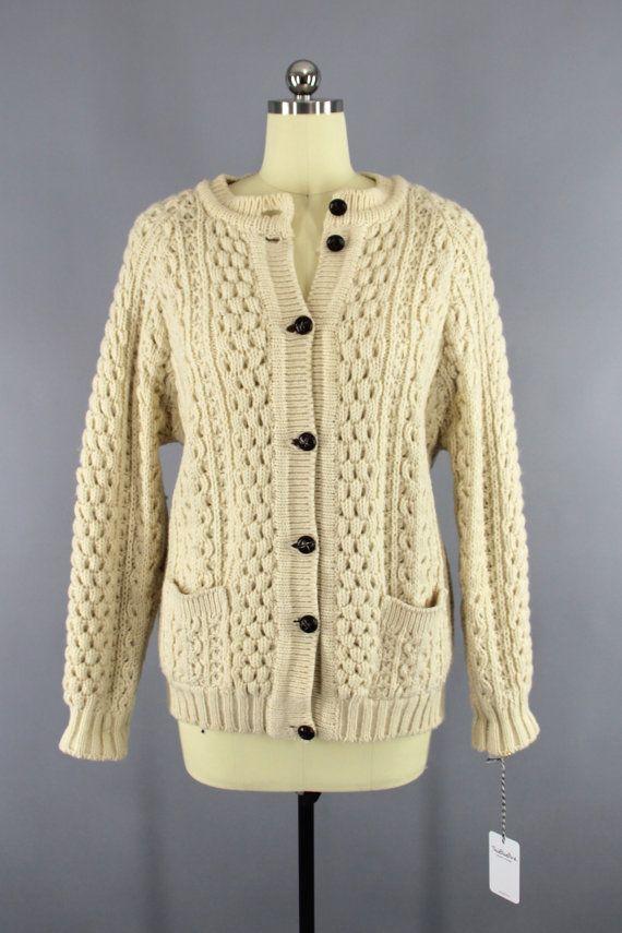 1980s Vintage Wool Cardigan Sweater / 80s IRISH Fisherman's ...