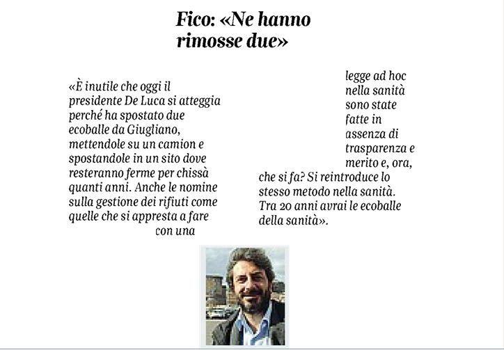 il popolo del blog,notizie,attualità,opinioni , fatti : Grande @Roberto_Fico, le ecoBalle della sanità.
