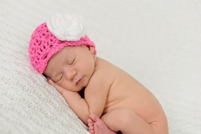 Hot pink newborn baby flower beanie photo prop hat uk £9 50