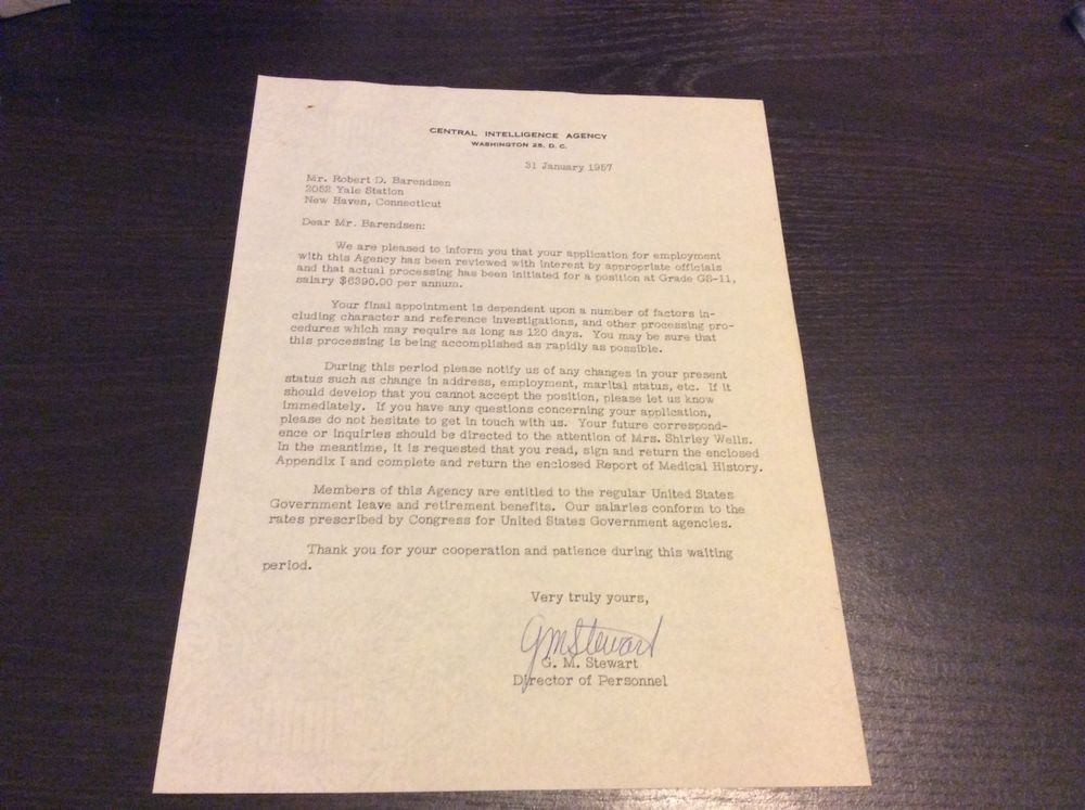 1957 CENTRAL INTELLIGENCE AGENCY CIA job offer letter Central - job offer