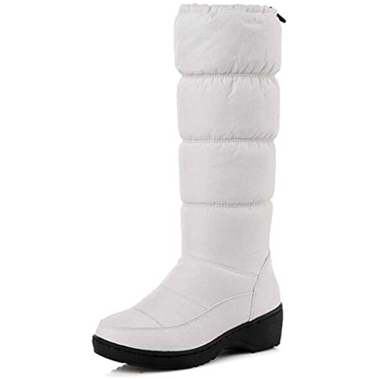 Women's Trendy Solid Waterproof Fleeced Toggle Mid Calf Mid Heel Platform Warm Winter Snow Boots