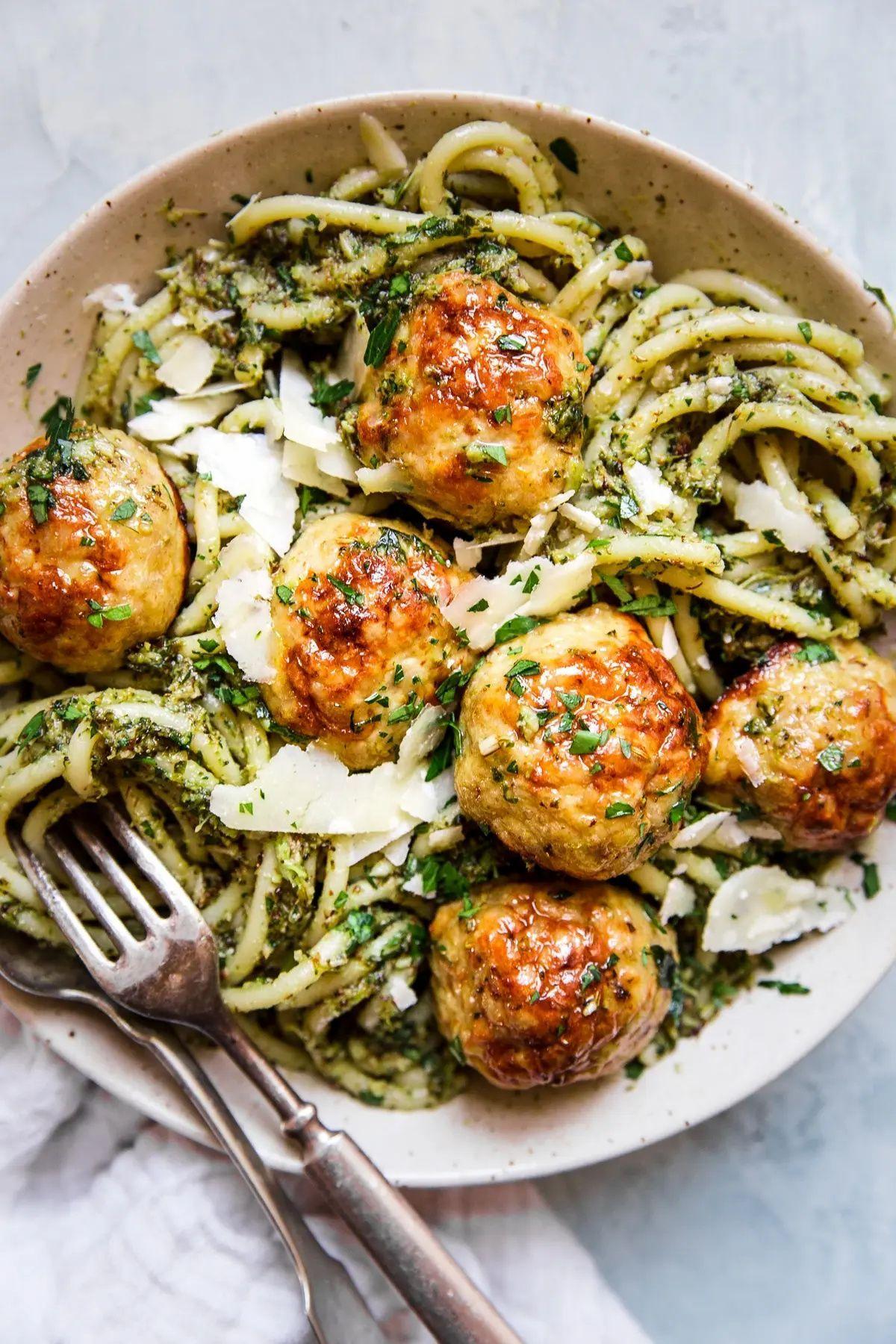 Baked Chicken Meatballs with Broccoli Pesto Pasta   The Modern Proper