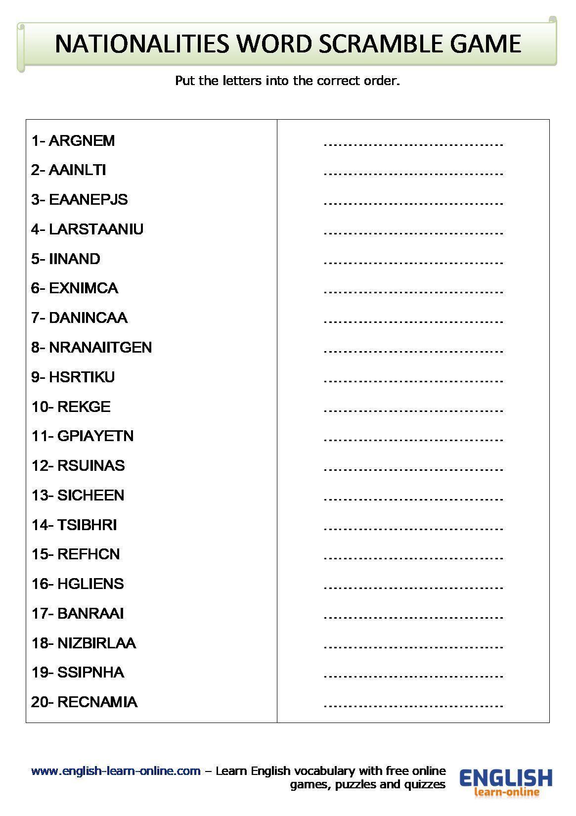 Nationalities Vocabulary Word Scramble Game Worksheet In