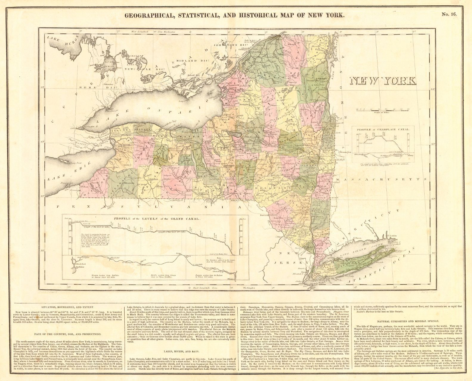 Geographical Map Of New York.Geographical Statistical And Historical Map Of New York Carey