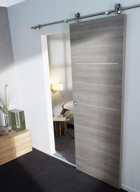 Style loft ultra tendance pour cette porte coulissante avec son - pose de porte coulissante
