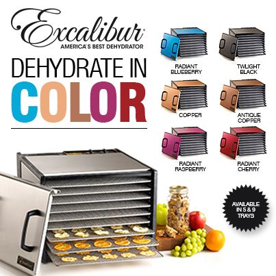 Add some color to your kitchen with Excalibur Dehydrators! http://www.excaliburdehydrator.com/dehydrators/colors