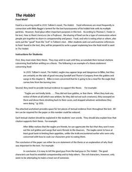 The Hobbit It S All About Food Expository Essay Writing On