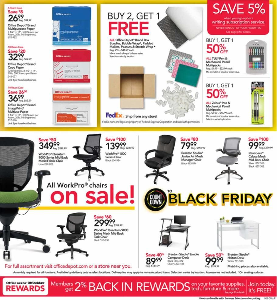 Office Depot And Officemax Countdown To Black Friday 2018 Ads Scan Deals And Sales See The Office Depot And Officemax Cou Office Depot Office Max Office Paper