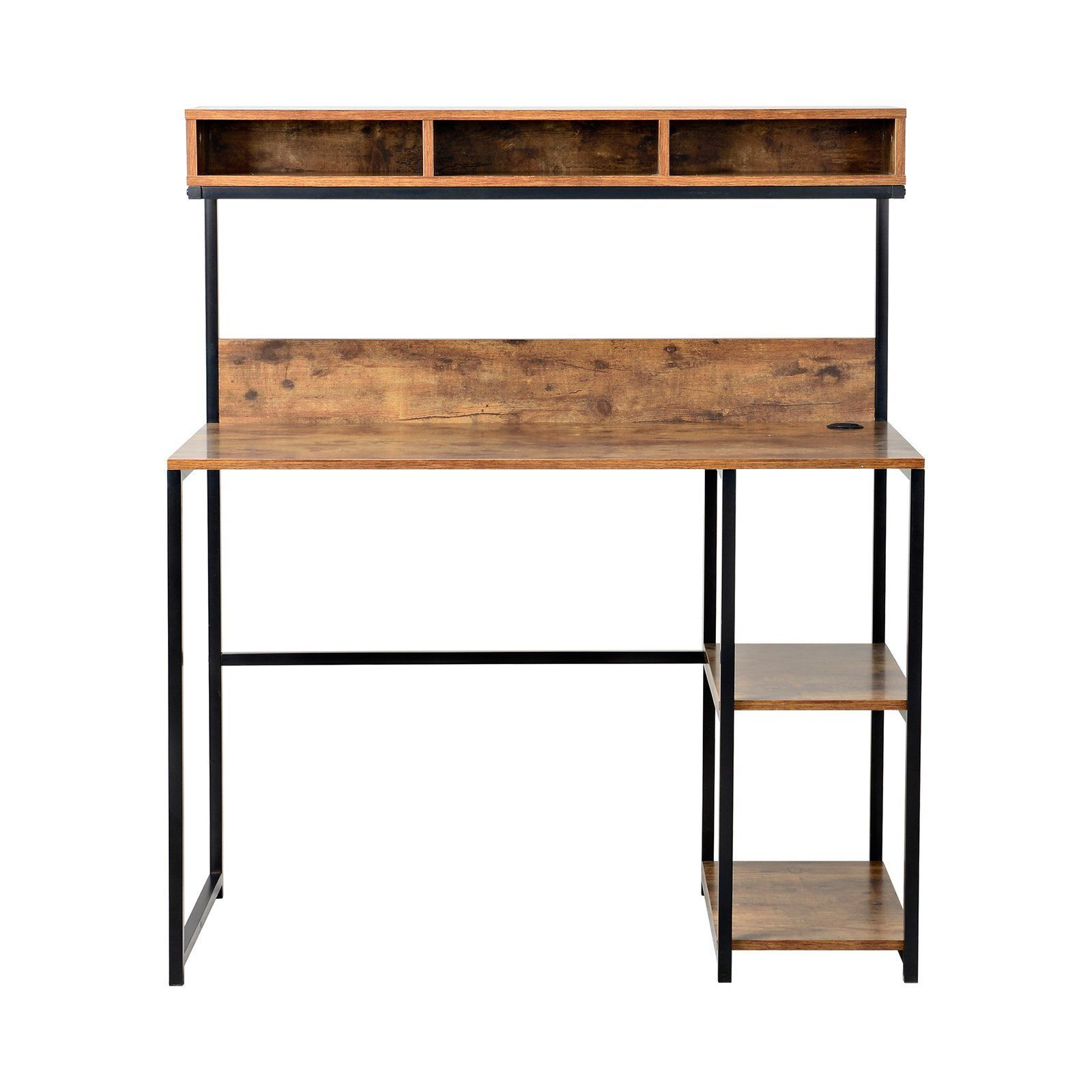writing reclaimed metal industrial pin office computer wood desk rustic table hutch