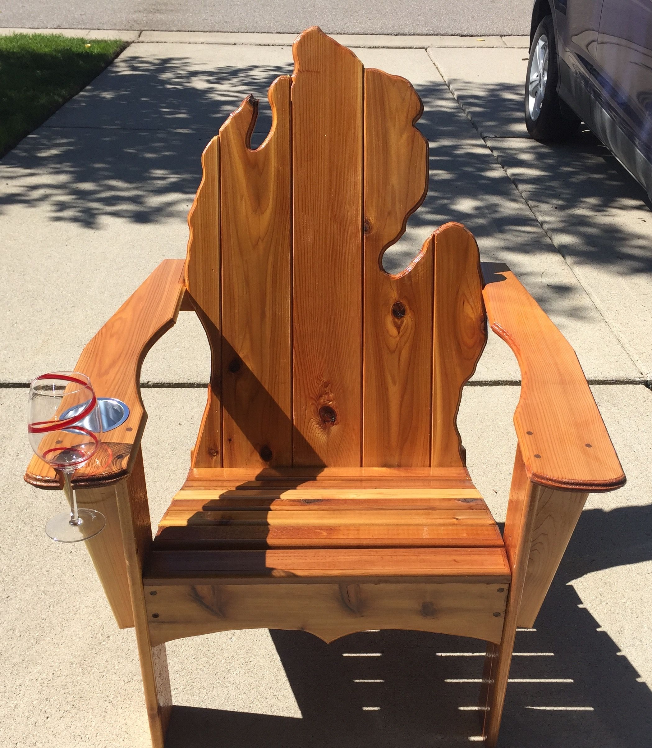Michigan Adirondack Chair With Cup Holder And Wine Gl