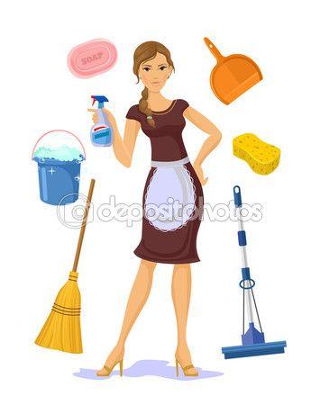Ilustraci n de dibujos animados plano vectores ama de casa - Imagenes de limpieza de casas ...