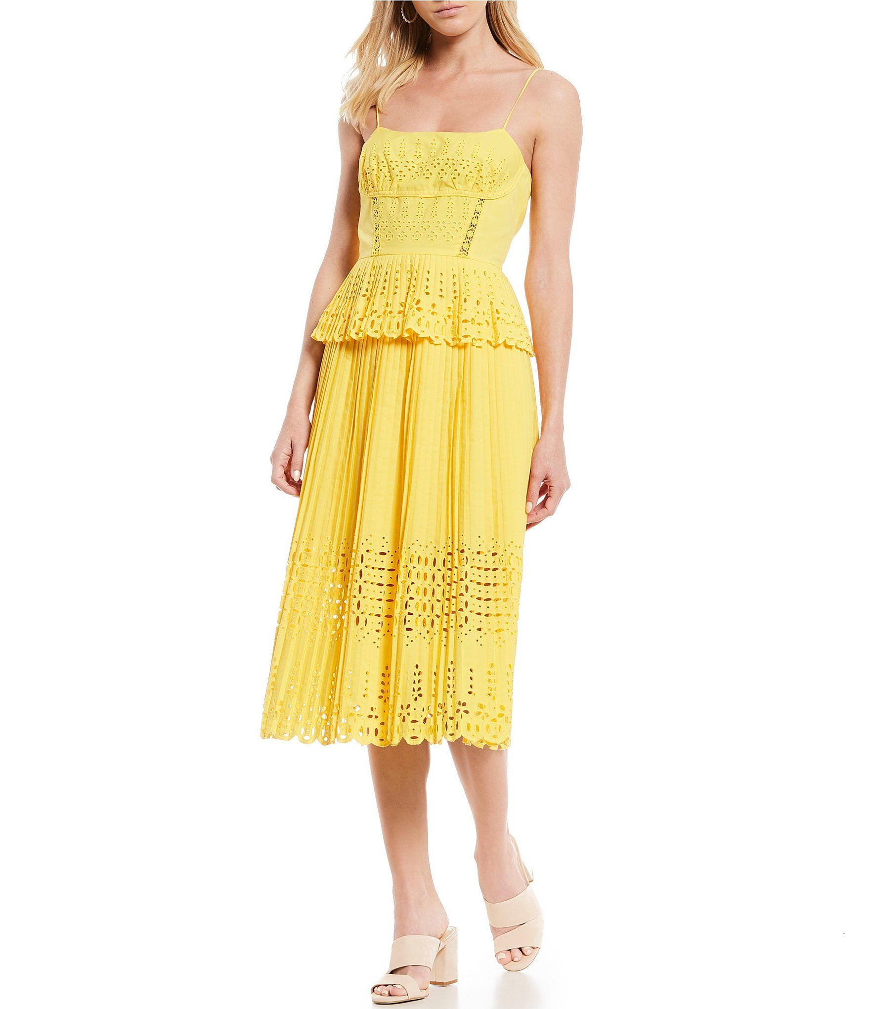 16de54dc75 Shop for Gianni Bini Lana Eyelet Peplum Spaghetti Strap Midi Dress at  Dillards.com. Visit Dillards.com to find clothing, accessories, shoes, ...