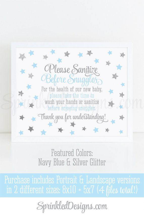 Twinkle Star Hand Sanitizer Sign Wash Your Hands Before Snuggles