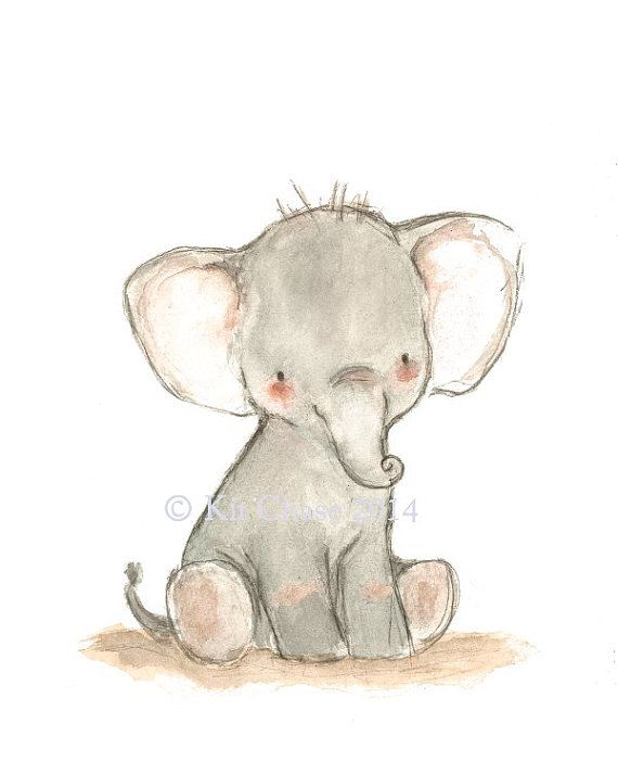 Nursery Art Little Pachyderm Archival Print Niedliche
