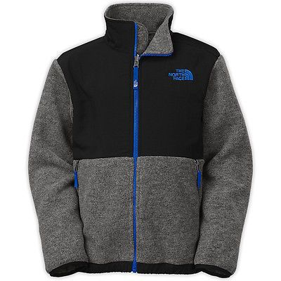 95f812539 North Face Denali Kids CDB7-MA9 Grey Black Blue Fleece Zip Jacket ...