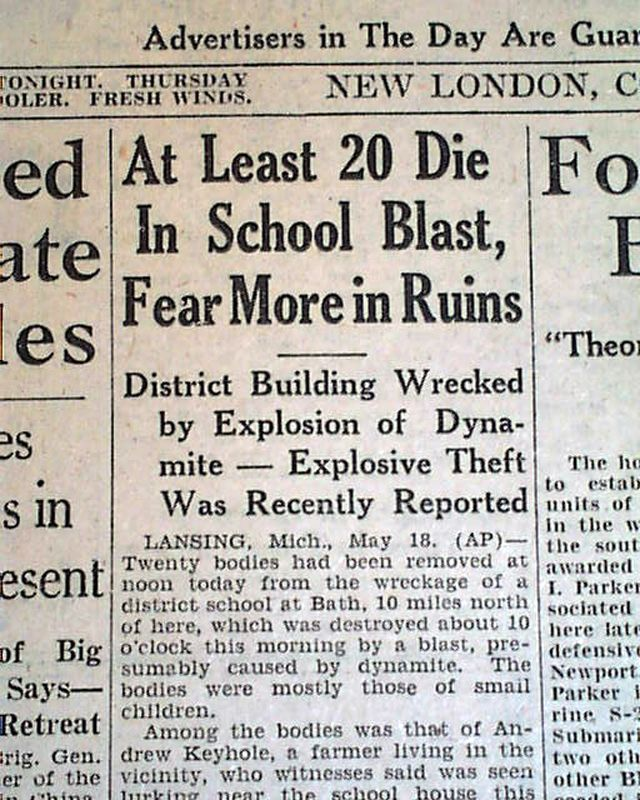 Small newspaper article about the disaster Bath School Disaster - newspaper