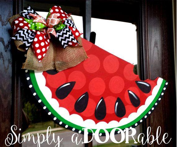 Watermelon Wood Door Hanger Summer Wooden Watermelon Decoration Summer Watermelon Wreath Simply Adoorable Door Wreath Hanger Watermelon Decor Door Hangers