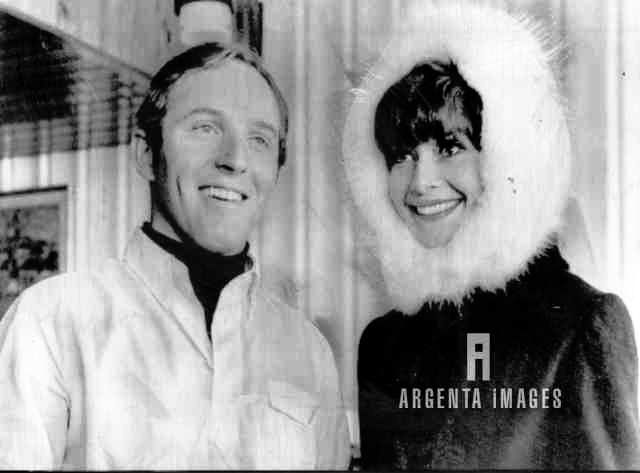 Audrey Hepburn with American ace skier Billy Kidd at the US Olympic team quarter in Chamrousse, France, February 1968.
