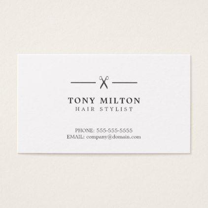 Minimalist Elegant Plain Black White Hairdresser Business Card Zazzle Com Hairdresser Business Cards Stylist Business Cards Hairstylist Business Cards