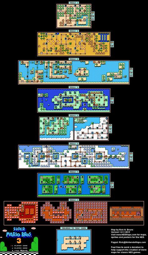 Super Mario Bros 3 Overworld Maps Mario Bros Super Mario Bros