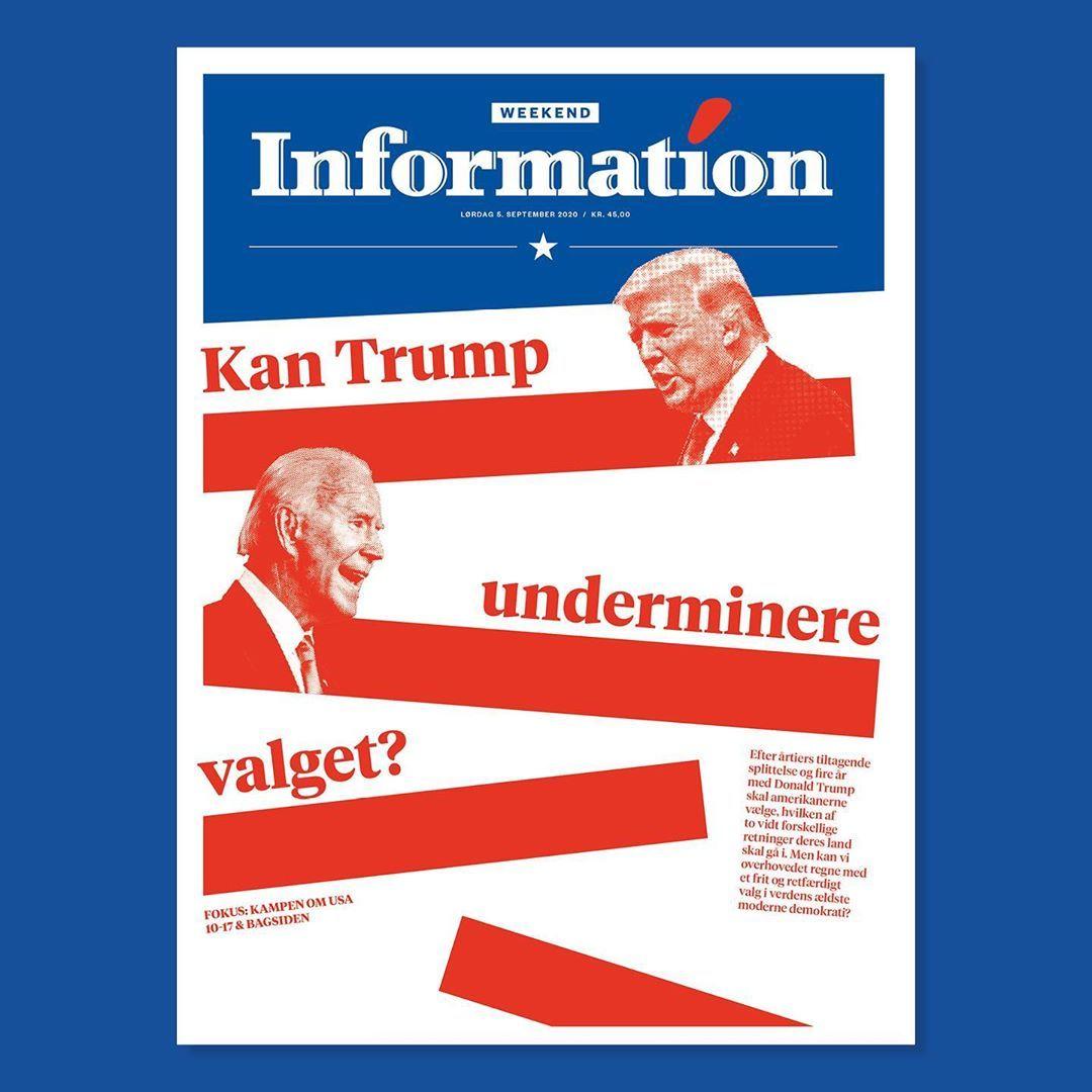 'Har Trump tænkt sig at anerkende et nederlag? Valgets troværdighed er et åbent spørgsmål Kan vi overhovedet regne med et frit, fair og legitimt valg i USA? Efter årtiers tiltagende splittelse og fire år med Trump er Amerika – verdens ældste moderne demokrati – blevet sådan et land, hvor partierne anklager hinanden for valgfusk, og ingen ved, om den siddende præsident vil anerkende et nederlag.' Samarbejde: @informationdk @lemunk #dagbladetinformation #editorial #newsdesign #frontpage #design #g