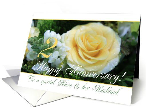2nd wedding anniversary card for niece & husband yellow rose card