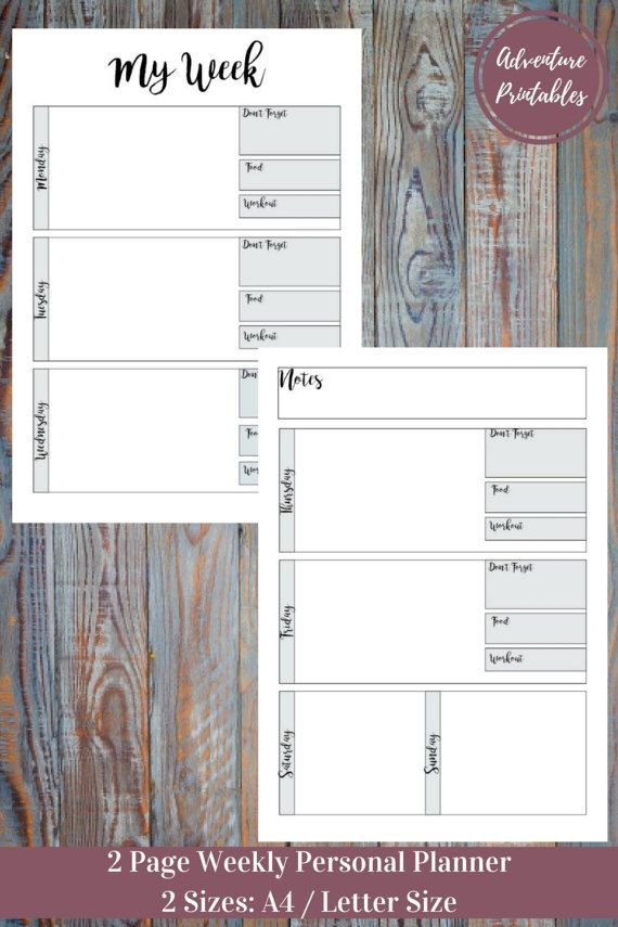 Weekly Planner - Personal Or Business Printable Planner PDF Form - printable business plan