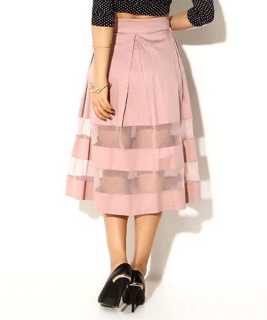 Powder Sheer Stripe Skirt