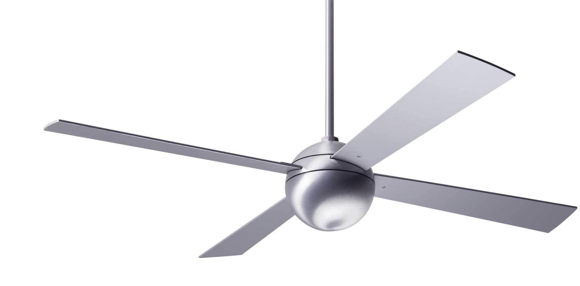 Modern Fan Ball Brushed Aluminum 42 Ceiling Fan With Aluminum
