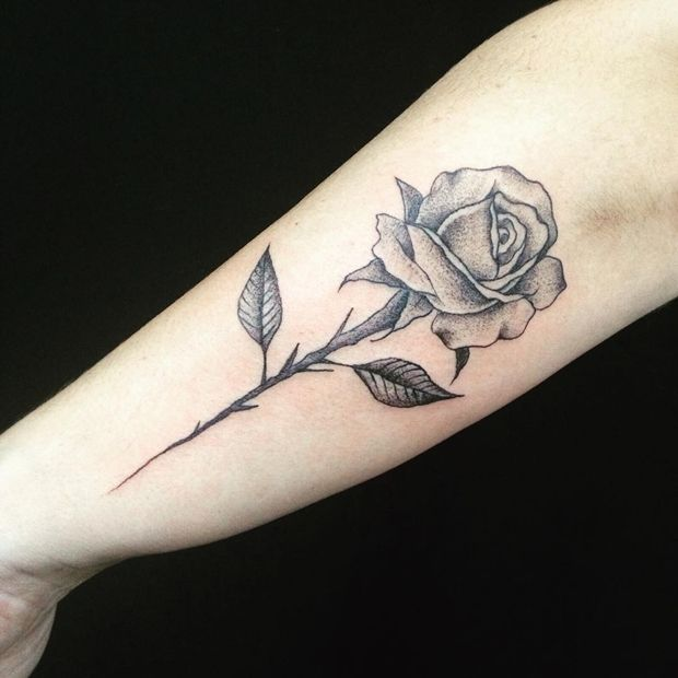 Tattoo Leg Man Rose Flower Black And White: 42 Totally Awesome Black Rose Tattoo That Will Inspire You