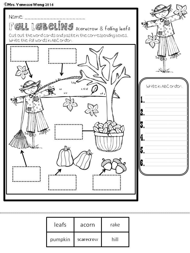 Fall labeling Freebie Help the kids to learn fall